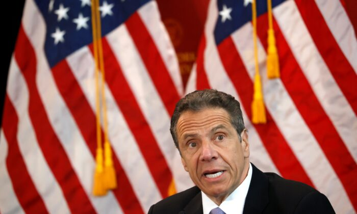 New York Gov. Andrew Cuomo speaks at his daily briefing at New York Medical College during the outbreak of the CCP virus in Valhalla, N.Y., on May 7, 2020. (Mike Segar/Reuters)