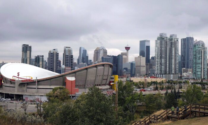 The Calgary skyline in a file photo. A new city bylaw banning so-called conversion therapy is too broad and undermines constitutional rights, says a lawyer with the Justice Centre for Constitutional Freedoms. (The Canadian Press/Jeff McIntosh)