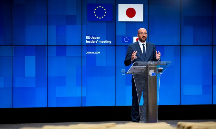 European Council President Charles Michel speaks during a news conference following an EU-Japan videoconference summit at the European Council headquarters in Brussels, Belgium, on May 26, 2020. (Francisco Seco/Reuters)