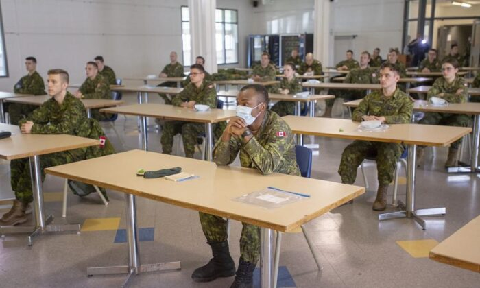 Members of the Canadian Armed Forces take part in a training session before deploying to senior's residences Wednesday April 29, 2020 in Montreal. The Canadian Forces say 36 members working in long-term care homes in Ontario and Quebec have now become sick with COVID-19. (Ryan Remiorz/The Canadian Press)