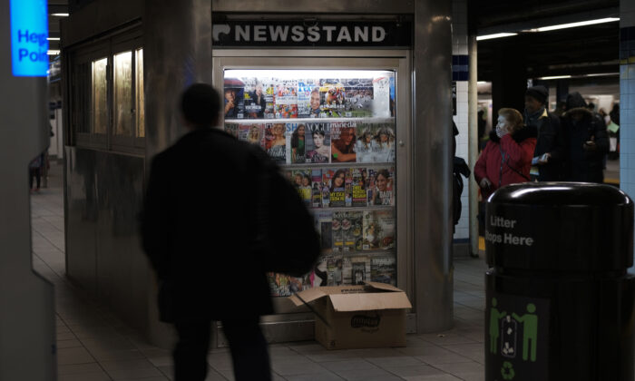 A subway newsstand in Brooklyn in New York City on March 21, 2019. (Spencer Platt/Getty Images)