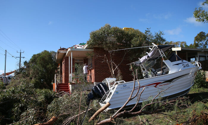 A property damaged by storms is seen in Clarke Street on July 15, 2014 in WA, Australia. (Paul Kane/Getty Images)