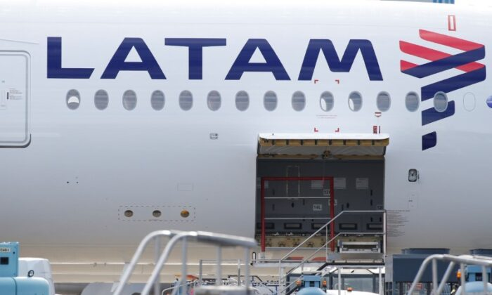 The logo of LATAM Airlines is pictured on an Airbus plane in Colomiers near Toulouse, France, on Nov. 6, 2018. (Regis Duvignau/Reuters)