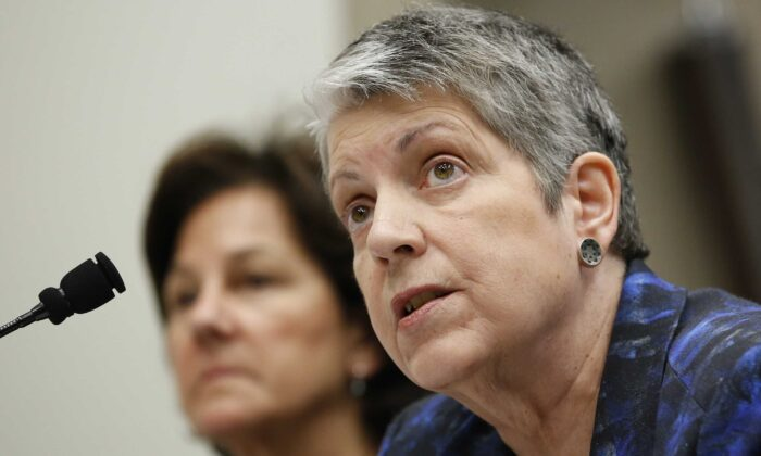 Janet Napolitano responds to a question while appearing before a Joint Legislative Audit Committee in Sacramento, Calif., on May 2, 2017. The University of California will drop the SAT and ACT tests as admission requirements through 2024 and eliminate them for California residents after that, a landmark decision by the prestigious university system. The UC's governing body, the Board of Regents, voted 23–0 May 21, 2020, to approve a proposal by Napolitano that phases the tests out over five years, at which point the UC aims to have developed its own test. (Rich Pedroncelli/AP Photo)
