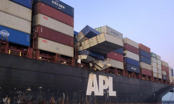 Containers falling off the APL England, 73 km south east of Sydney on 25 May, 2020. (Australian Maritime Safety Authority 2019)