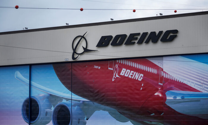 A Boeing logo is seen at the company's facility in Everett, Wash., on Jan. 21, 2020. (Lindsey Wasson/Reuters)