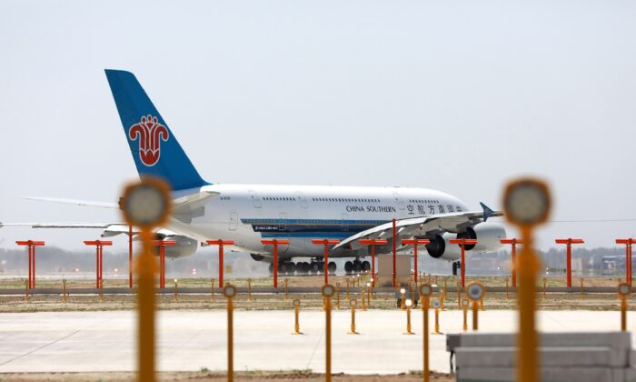 A China Southern Airlines Airbus A380 taxis at the new Beijing Daxing International Airport in Beijing on May 13, 2019. (STR/AFP via Getty Images)