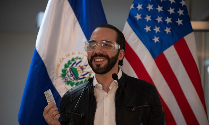 El Salvador's president Nayib Bukele speaks during a press conference at Rosales Hospital in San Salvador on May 26, 2020. (Yuri Cortez/AFP via Getty Images)