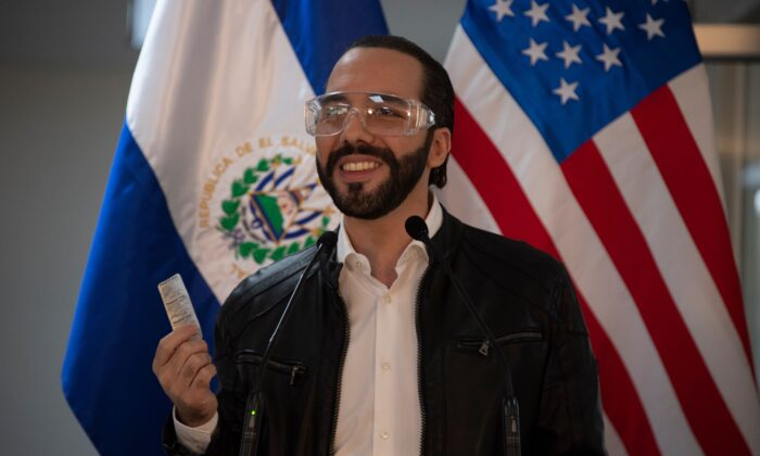 El Salvador's President Nayib Bukele speaks during a press conference at Rosales Hospital in San Salvador, on May 26, 2020. (Yuri Cortez/AFP via Getty Images)