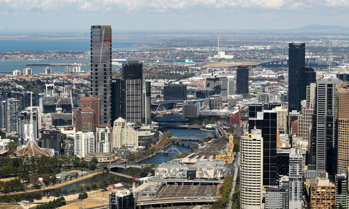 An aerial view of Melbourne CBD is seen on February 12, 2009 in Melbourne, Australia.  (Mark Dadswell/Getty Images)