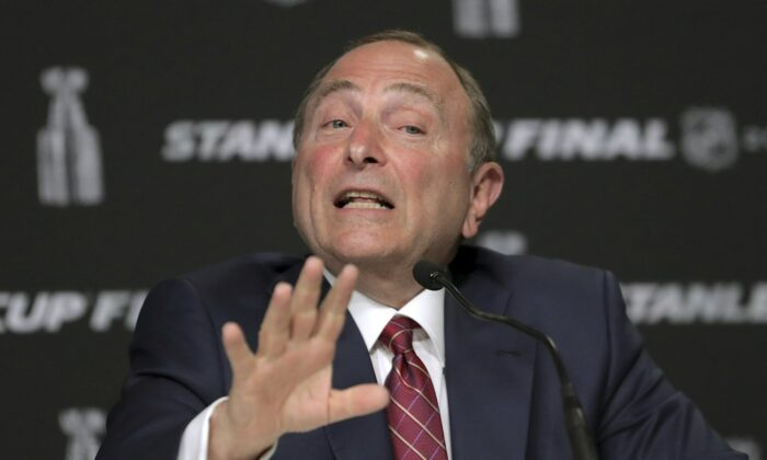 NHL Commissioner Gary Bettman speaks to the media before Game 1 of the NHL hockey Stanley Cup Finals between the St. Louis Blues and the Boston Bruins, in Boston on May 27, 2019. (Charles Krupa/AP Photo)