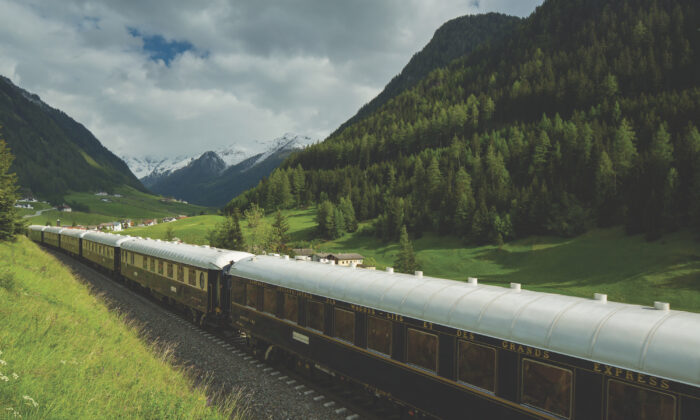 The Venice Simplon Orient Express passing through the Brenner Pass, Austria. (Courtesy of Venice-Simplon-Orient-Express)