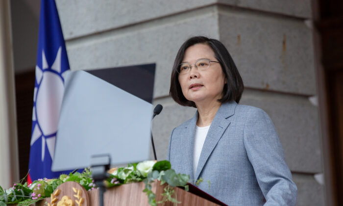 Taiwan President Tsai Ing-wen delivers her inaugural address at the Taipei Guest House in Taipei, Taiwan, on May 20, 2020. (Wang Yu Ching/Taiwan Presidential Office/Handout via Reuters/File Photo)