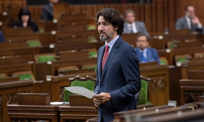 Prime Minister Justin Trudeau responds to a question during Question Period in the House of Commons on Parliament Hill Tuesday May 26, 2020 in Ottawa. THE CANADIAN PRESS/Adrian Wyld
