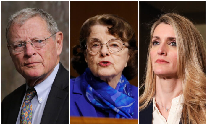 (L-R) Sen. Jim Inhofe (R-Okla.) (Chip Somodevilla/Getty Images), Sen. Dianne Feinstein (D-Calif.) (Andrew Harnik/AP Photo), Sen. Kelly Loeffler (R-Ga.) (Charlotte Cuthbertson/The Epoch Times)