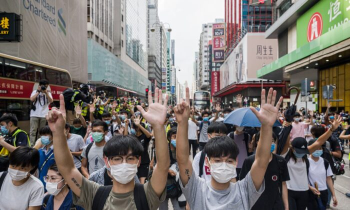 Hong Kong protesters rally against China's national security law in the Mongkok district of Hong Kong, on May 27, 2020. (Billy H.C. Kwok/Getty Images)