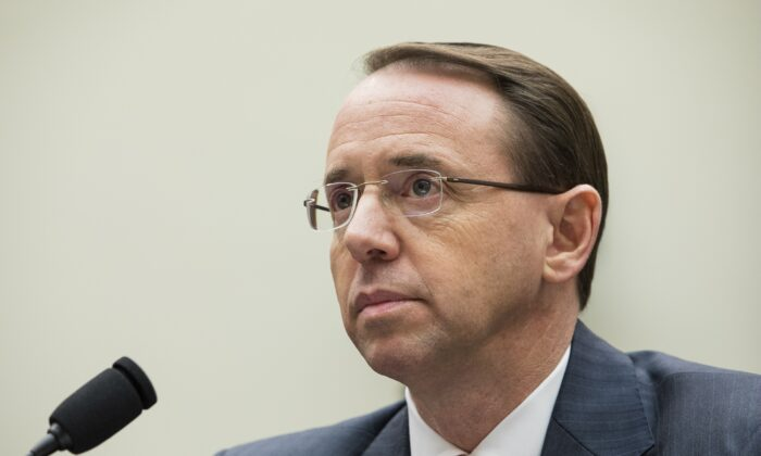 Deputy Attorney General Rod Rosenstein testifies before the House Judiciary Committee about former special counsel Robert Mueller's investigation of Russia's alleged election interference in 2016, in Washington on Dec. 13, 2017. (Samira Bouaou/The Epoch Times)
