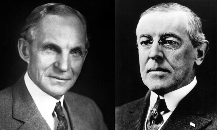 Left: American industrialist and pioneer in the motor vehicle industry, Henry Ford (1863-1947). (Keystone/Getty Images) Right: Woodrow Wilson, 28th President of the United States (1913-1921). (National Archive/Newsmakers)