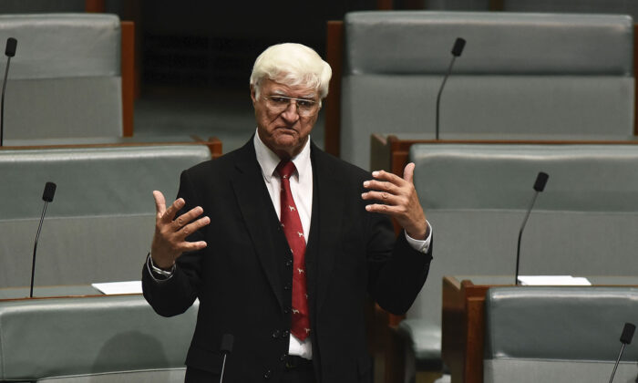 Australian federal MP Bob Katter at Parliament House in Canberra, Australia, on Dec. 7, 2017. (Michael Masters/Getty Images)