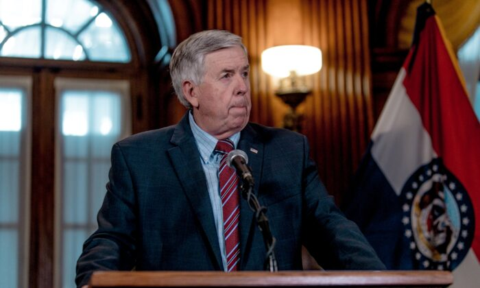 Missouri Gov. Mike Parson listens to a media question during a press conference to discuss the status of license renewal for the St. Louis Planned Parenthood facility in Jefferson City, Mo., on May 29, 2019. (Jacob Moscovitch/Getty Images)