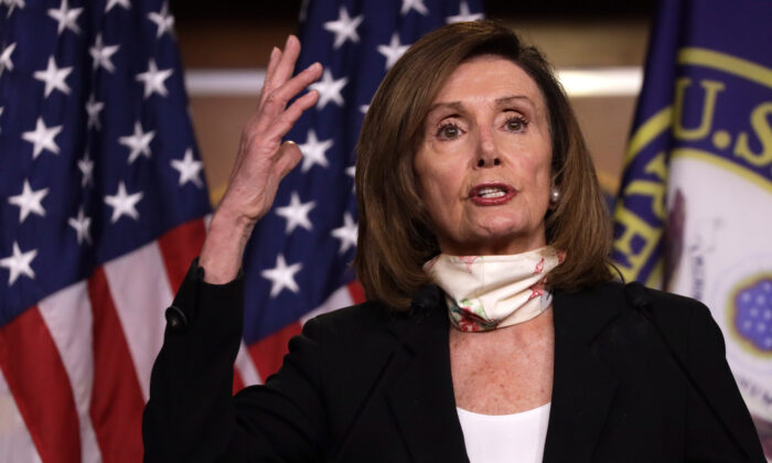 U.S. Speaker of the House Rep. Nancy Pelosi (D-CA) speaks during a weekly news conference on Capitol Hill in Washington, on May 28, 2020.  (Alex Wong/Getty Images)
