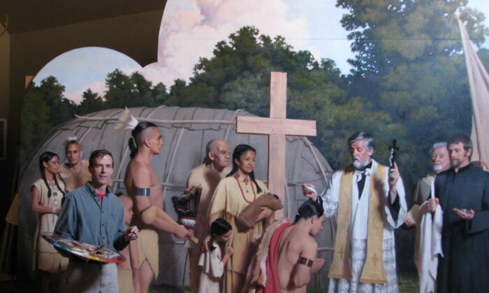 """Henry Wingate and his """"Father Andrew White Baptizing the Chief of the Piscataway,"""" which is now at St. Mary's Catholic Church of Piscataway. (Courtesy of Henry Wingate)"""