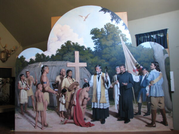 the entire painting of Father Andrew White Baptizing the Chief of the Piscataway