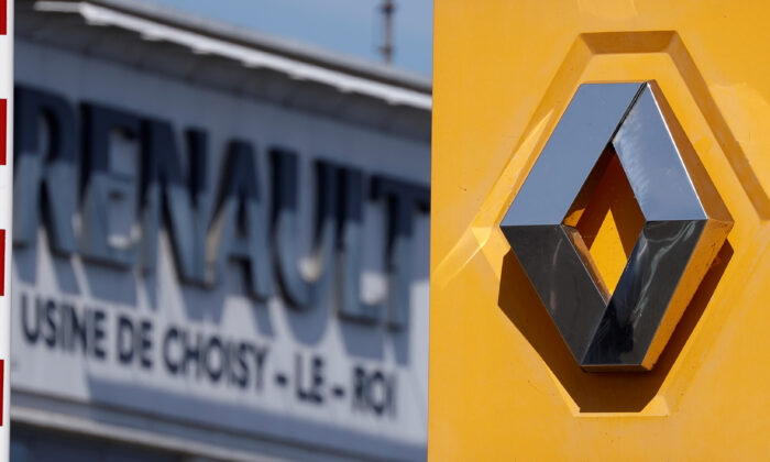 A Renault logo is seen outside the Renault factory in Choisy-le-Roi near Paris, France, on May 25, 2020. (Christian Hartmann/File Photo/Reuters)