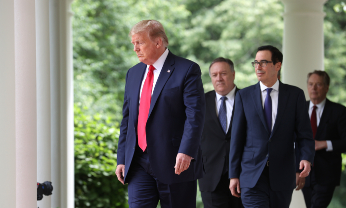 President Donald Trump walks into the Rose Garden to make a statement about U.S. relations with China, at the White House May 29, 2020 in Washington. (Win McNamee/Getty Images)