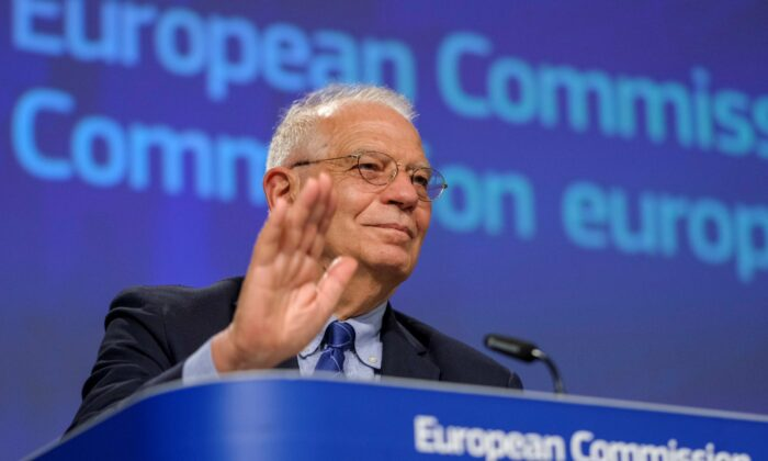 European High Representative of the Union for Foreign Affairs, Josep Borrell, is seen during a video press conference at the end of International Donors' Conference in Brussels, Belgium, on May 26, 2020. (Olivier Hoslet/Reuters)