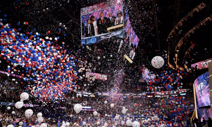Balloons fall over the crowd as then candidate Donald Trump accepts the Republican Party's nomination for president, at the Republican National Convention in Cleveland, Ohio, on July 21, 2016. (Robyn Beck/AFP/Getty Images)