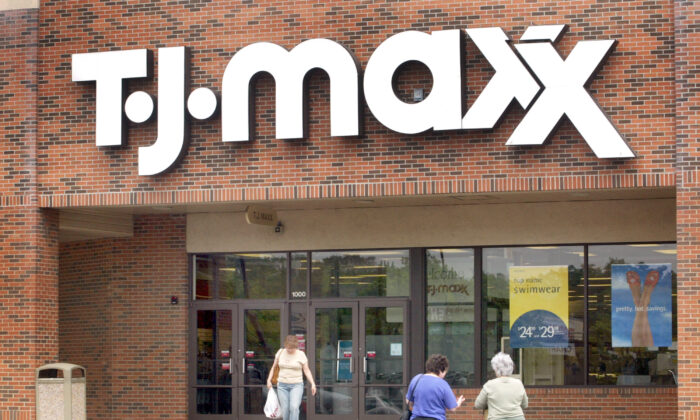Shoppers are seen walking in front of a T.J. Maxx store in Mount Prospect, Ill., on May 19, 2004. (Tim Boyle/Getty Images)