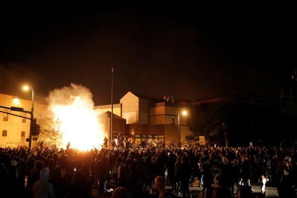 burned police building