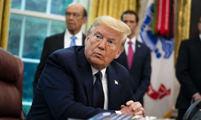 President Donald Trump in the Oval Office of the White House in Washington on May 28, 2020. (Doug MIlls-Pool/Getty Images)