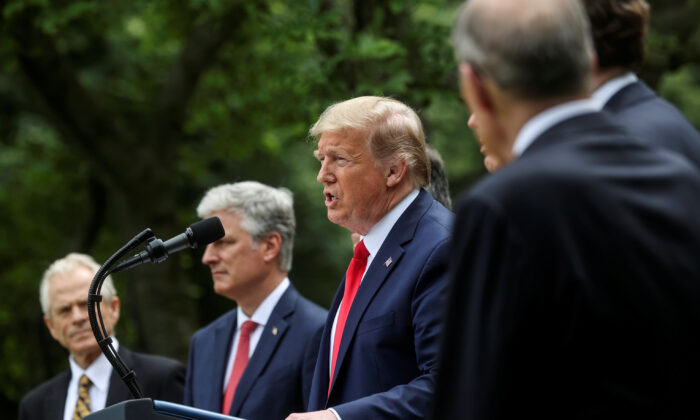 President Donald Trump addresses a news conference on China in the Rose Garden of the White House in Washington on May 29, 2020. (Jonathan Ernst/Reuters)