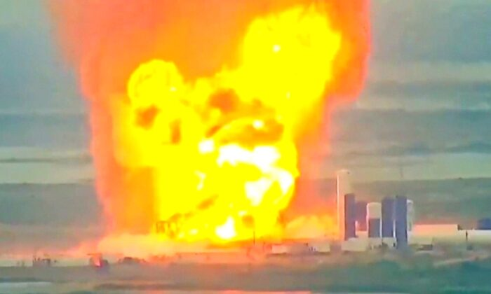 A prototype of SpaceX rocket Starship explodes during ground tests, in Boca Chica, Texas U.S., May 29, 2020. (LABPADRE/YOUTUBE via Reuters)