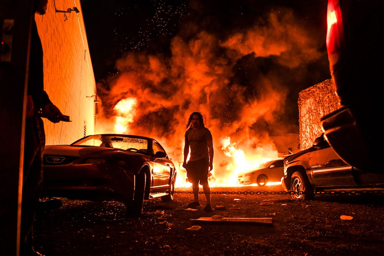 Protest arson looting