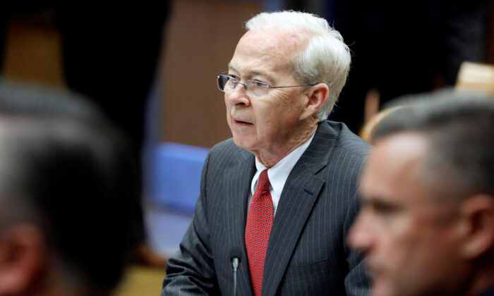 Acting Deputy Attorney General Dana J. Boente during a meeting with the Organized Crime Council and Organized Crime Drug Enforcement Task Force Executive Committee in Washington, on April 18, 2017. (Aaron P. Bernstein/Reuters)