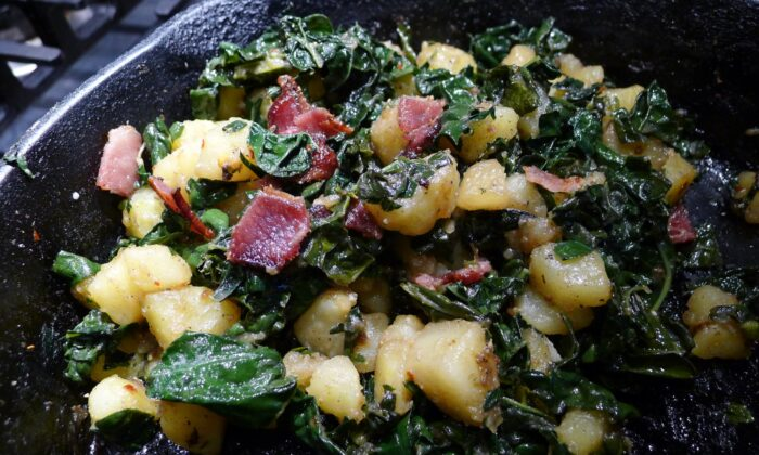 Chunks of potatoes are plastered and speckled with kale, full of that unmistakable potato salad-y flavor of summer. (Ari LeVaux)