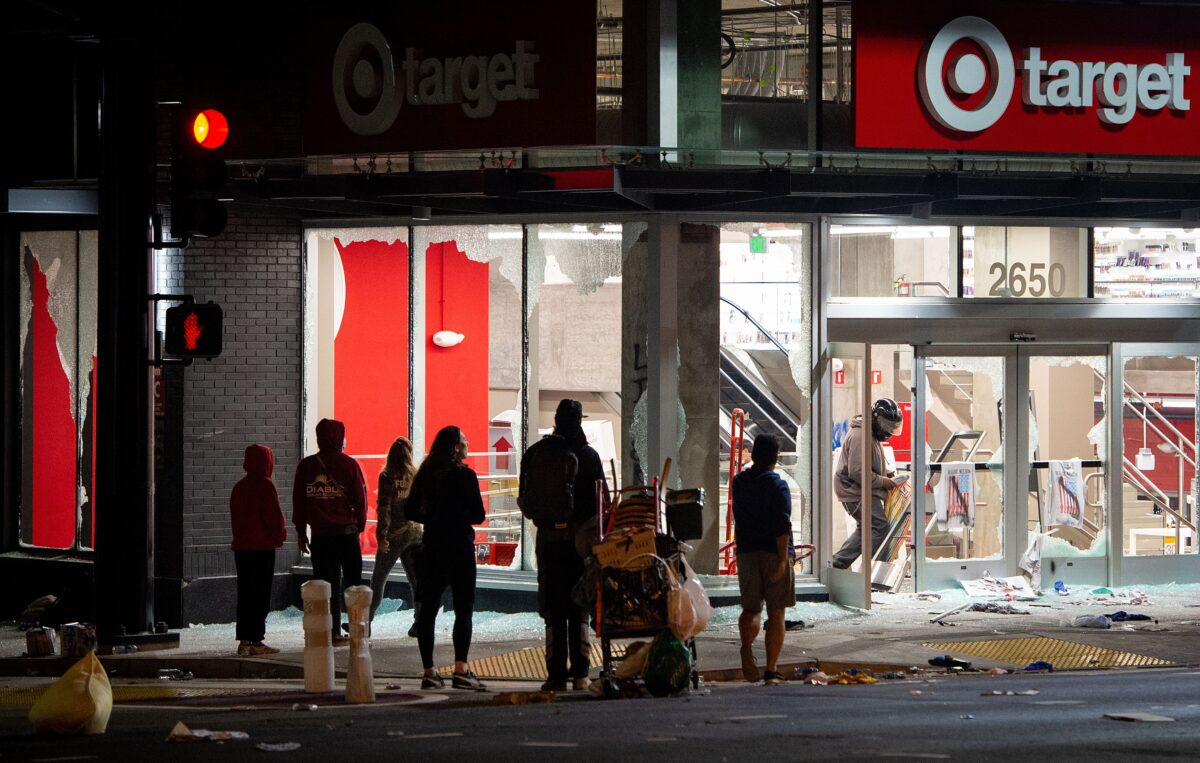 Looters rob a Target store