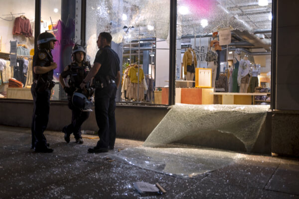 Damage is seen at an Urban Outfitters store