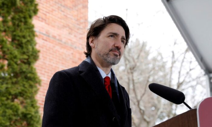Canada's Prime Minister Justin Trudeau attends a news conference at Rideau Cottage, as efforts continue to slow the spread of COVID-19, in Ottawa, on April 24, 2020. (Blair Gable/Reuters/File Photo)
