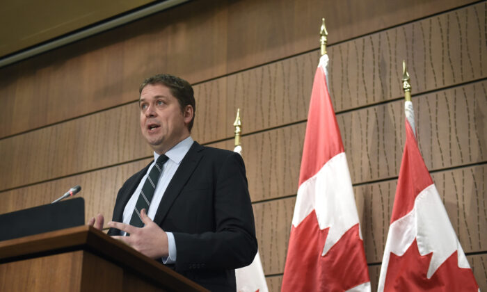 Conservative Leader Andrew Scheer speaks during a news conference in Ottawa, June 1, 2020. (Justin Tang/The Canadian Press)