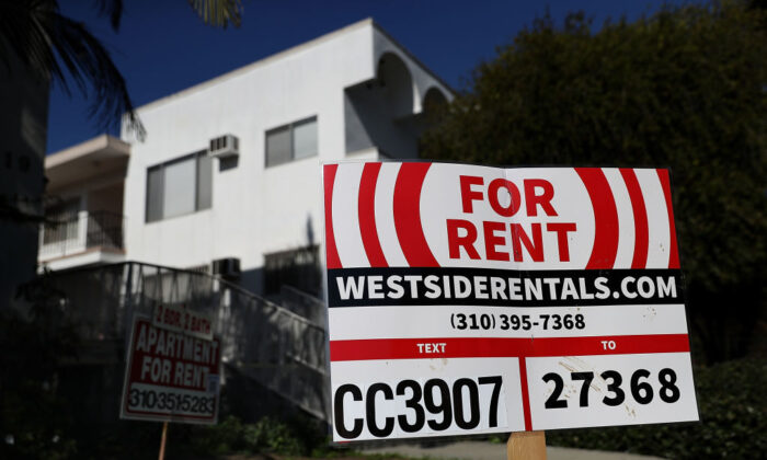 A for-rent sign is posted in front of an apartment building in Los Angeles, Calif., on Feb. 1, 2017.  (Justin Sullivan/Getty Images)