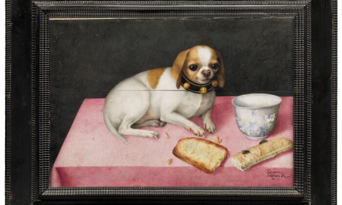 Lapdog with Biscotti and a Chinese Cup,circa 1648, by Giovanna Garzoni.Tempera on parchment; 10 7/8 inches by 15 1/2 inches. Palatine gallery, The Uffizi Galleries, Florence. (The Uffizi Galleries, Florence)