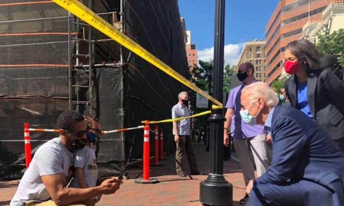 Democratic presidential candidate and former Vice President Joe Biden visits a site of the protest over the death of George Floyd in Minneapolis police custody, in Wilmington, Del. on May 31, 2020. (Joe Biden for President via Reuters)