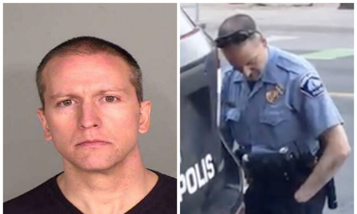 Former Minneapolis police officer Derek Chauvin in a booking photograph (L) and (R) Chauvin, when still an officer. (Hennepin County Jail; Darnella Frazier via AP)