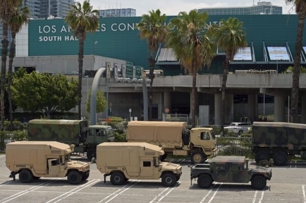 California National Guard vehicles are seen parked at the Los Angeles Convention Center