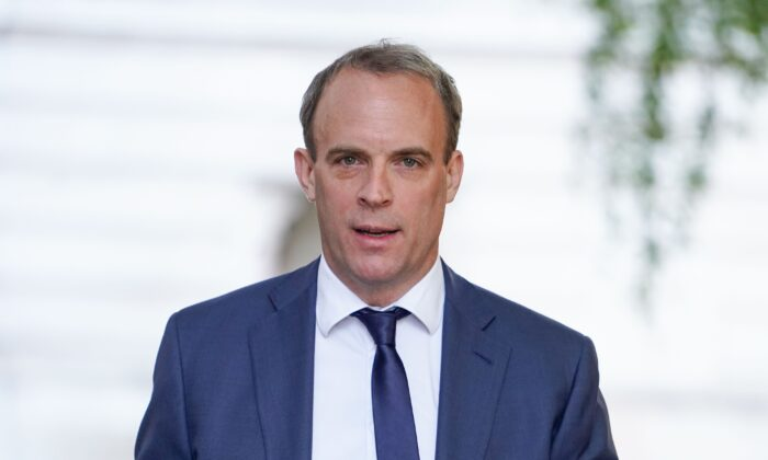Britain's Foreign Secretary Dominic Raab arrives in Downing street in central London on May 28, 2020. (Niklas Halle'n/AFP/Getty Images)