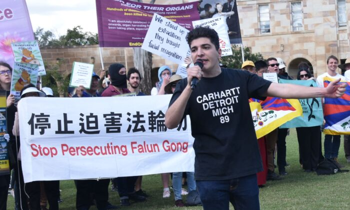 Drew Pavlou speaking at a human rights rally on the grounds of the University of Queensland in Brisbane, Australia on Jul 31, 2019 (Faye Yang/The Epoch Times)